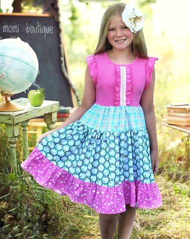 Apple Orchard Twirl flutter sleeve dress