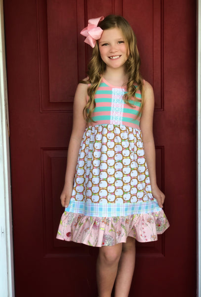 girl's back to school apple dress