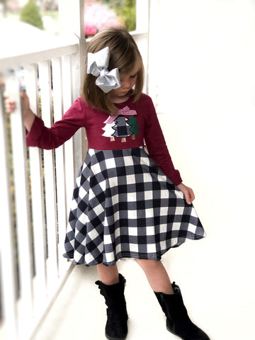 Buffalo plaid twirl dress