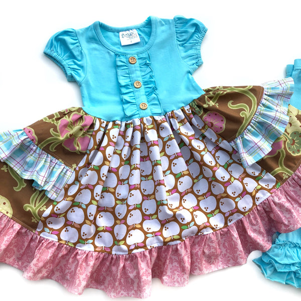 cute apple dress for toddler girls