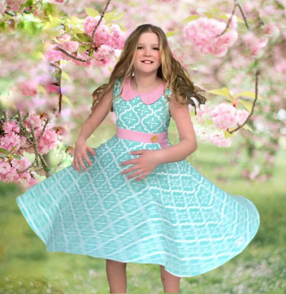 Lola Ultimate twirl dress in aqua/pink