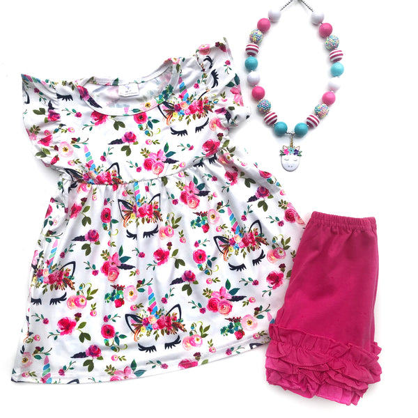 Floral Unicorn tunic & shorts