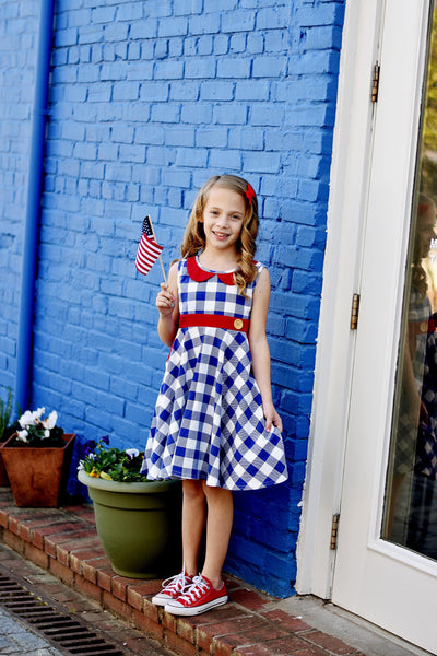 Central Park Twirl dress in Red, White, & Blue