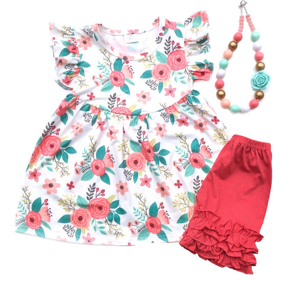 Watercolor floral tunic & shorts