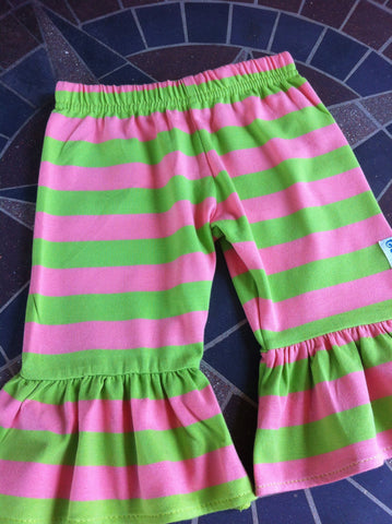 {Slightly Irregular} Sweet Pea stripe ruffle capri Blowout