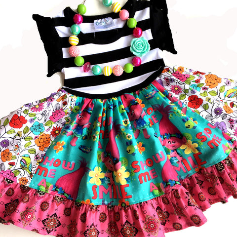 Troll Poppy flutter sleeve dress