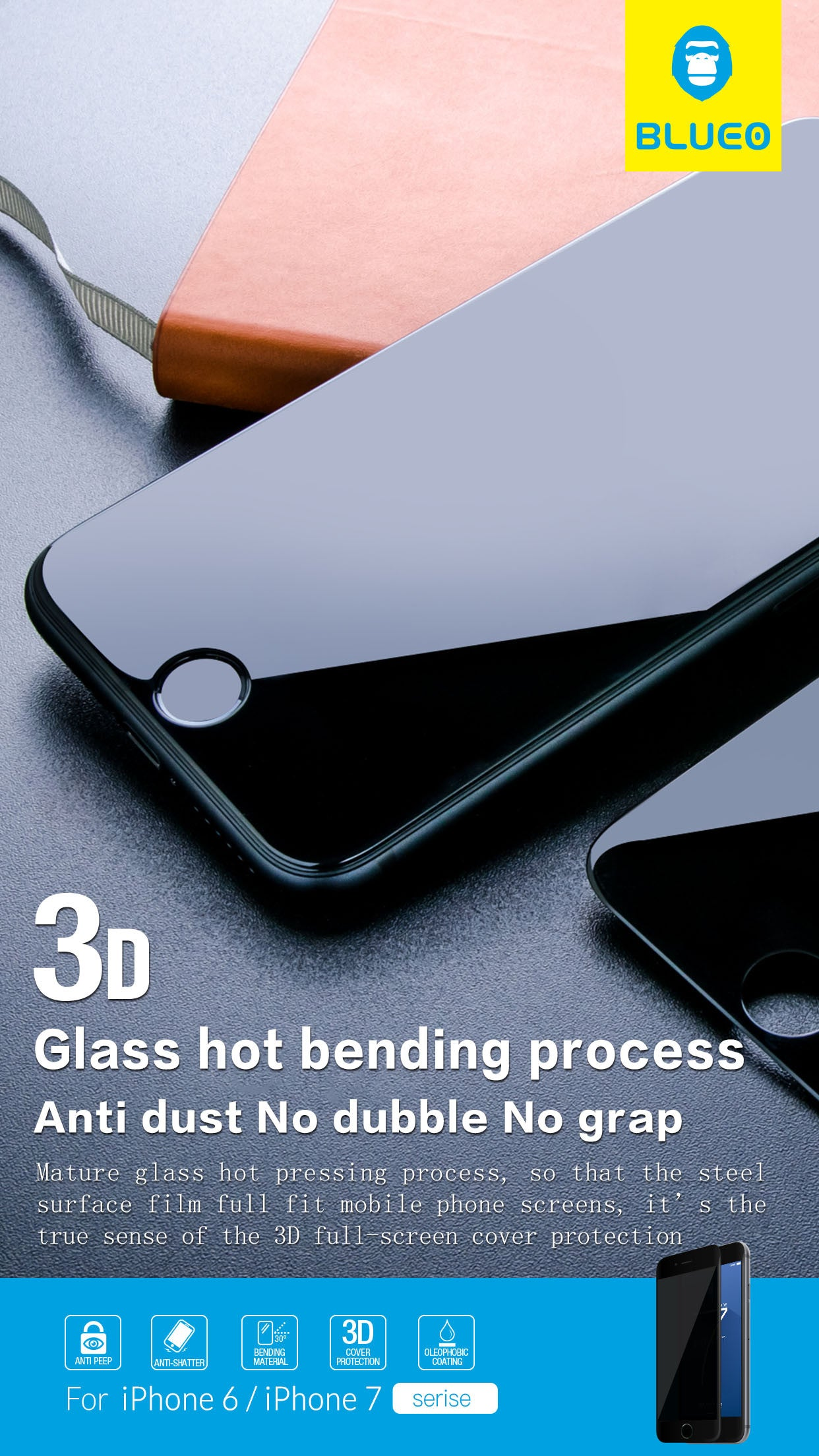 Blueo (All Glass) Privacy (Anti-Peep) Tempered Glass - iPhone 7 Plus/Pro