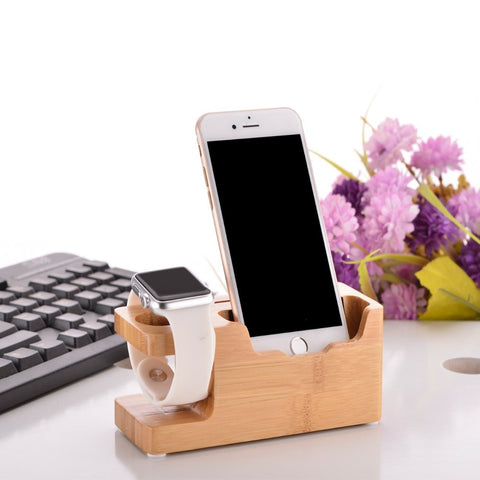 Multi-function Applewatch / Phone Bamboo Dock Station with USB Port