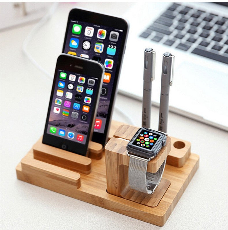 Bamboo Dock Station for Applewatch, Tablets and Smartphones (with Pen Holder)