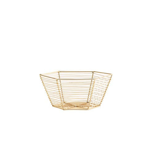 6 Sided Wire Basket - Shiny Gold