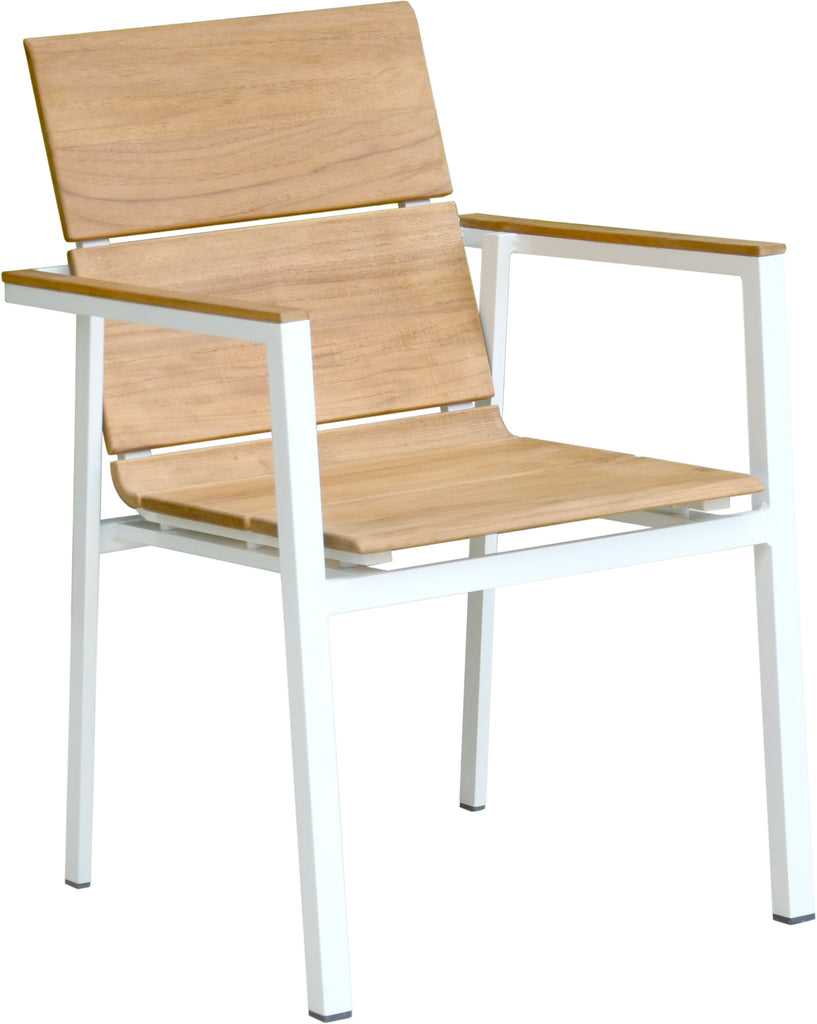Seattle modernteak and aluminium stacking arm chair