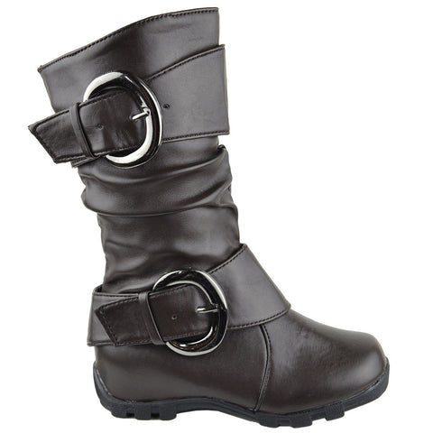 Girls Ruched Leather Mid Calf Boots Brown