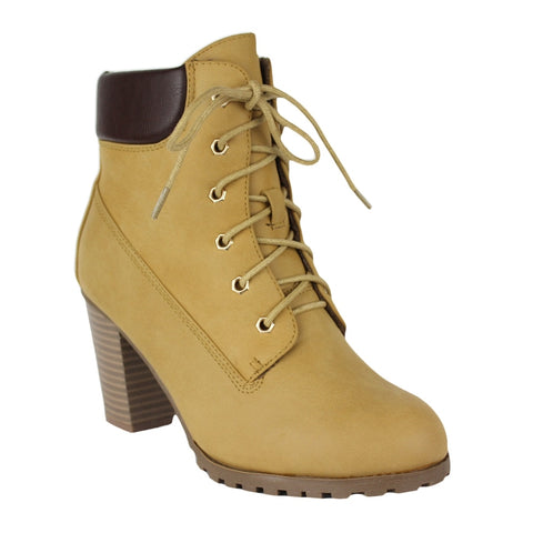 Womens Stacked Heel Ankle Bootie Camel