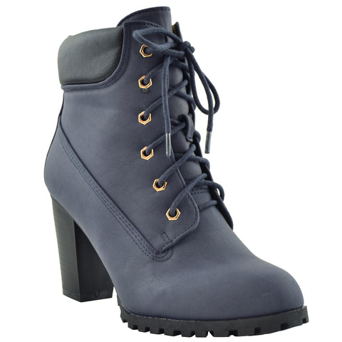 Womens Ankle Boots Rugged Lace Up High Heel Booties Navy