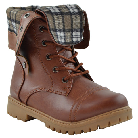 Kids Ankle Boots Lace Up Lug Sole Fold Over Cuff Shoes Tan