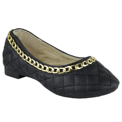 Girls Gold Chain Trim Quilted Ballet Flats Black
