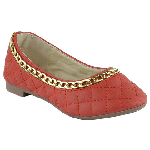 Girls Gold Chain Trim Quilted Ballet Flats Red