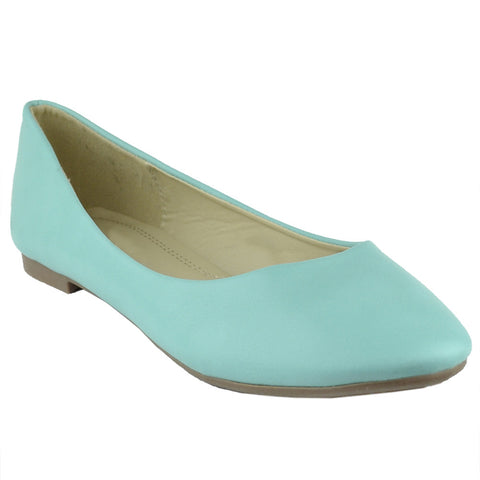 Womens Ballet Flats Pu Leather Basic Slip On Comfort Shoes Mint