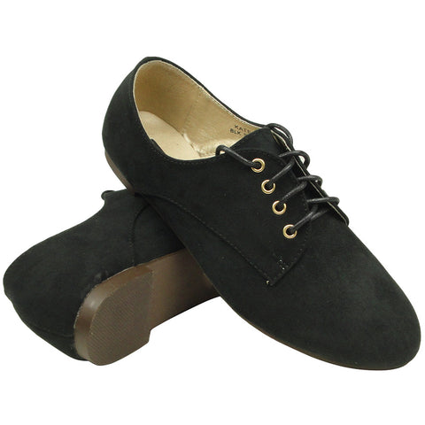 Womens Ballet Flats Suede Lace Up Casual Comfort Shoes black