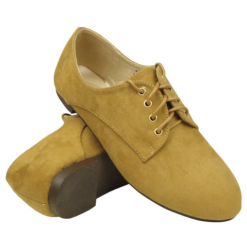 Womens Lace Up Suede Oxford Tan