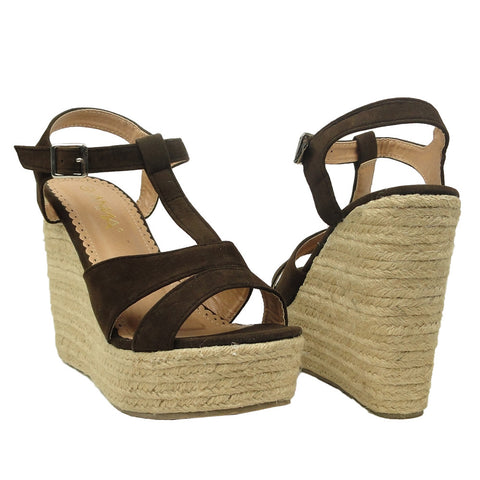 Womens Platform Sandals Strappy Velvet Adjustable Ankle Strap Brown