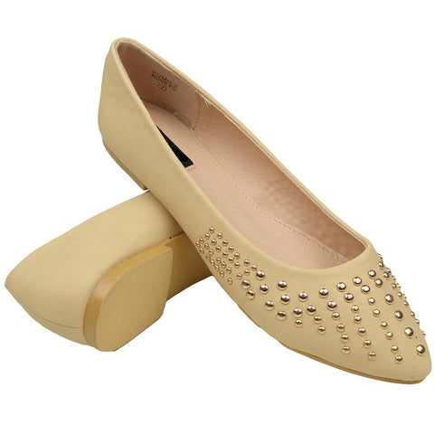 Womens Studded Pointed Toe Ballet Flats Beige