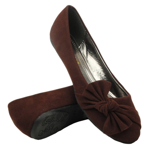 Womens Ballet Flats Side Knotted Bow Easy Slip On Brown