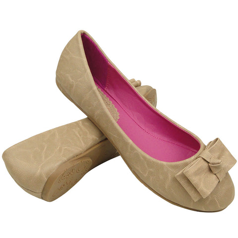Womens Ballet Flats Layered Flat Bow Easy Slip On Taupe