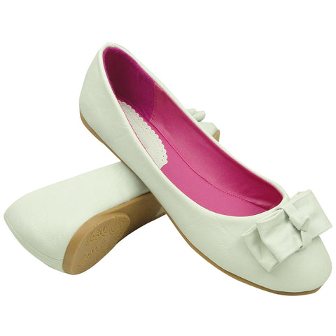Womens Ballet Flats Layered Flat Bow Easy Slip On White
