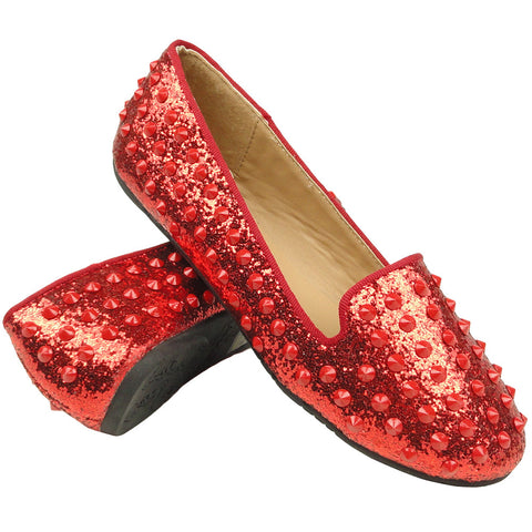 Womens Ballet Flats Glitter and Studded Easy Slip On Red