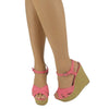 Womens Platform Sandals Weaved Wedge Cut Out Side Adjustable Ankle Strap Pink
