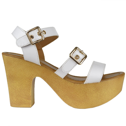 Womens Platform Chunky Heel Sandals White