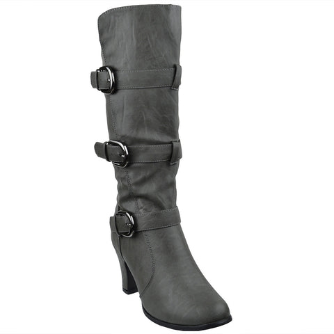 Womens Mid Calf Boots Triple Adjustable Buckles Side Zipper Closure Gray