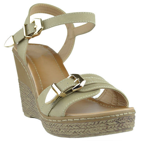 Womens Buckle Accent Platform Wedge Sandals Beige