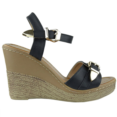 Womens Buckle Accent Platform Wedge Sandals Black