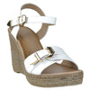 Womens Buckle Accent Platform Wedge Sandals White