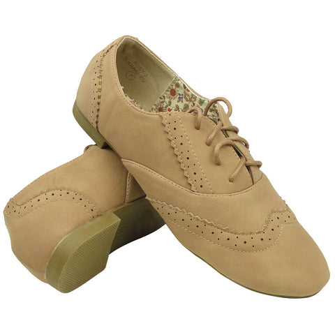 Womens Ballet Flats Leather Perforated Oxford Comfort Lace Up Shoes Beige