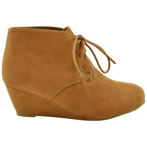 Kids Lace Up Suede Wedge Ankle Boots Camel