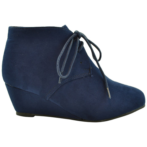 Kids Lace Up Suede Wedge Ankle Boots Navy