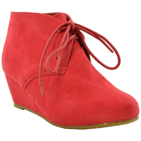 Kids Lace Up Suede Wedge Ankle Boots Wine