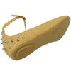 Womens Ballet Flats Round Toe Back Studded Ankle Strap Tan