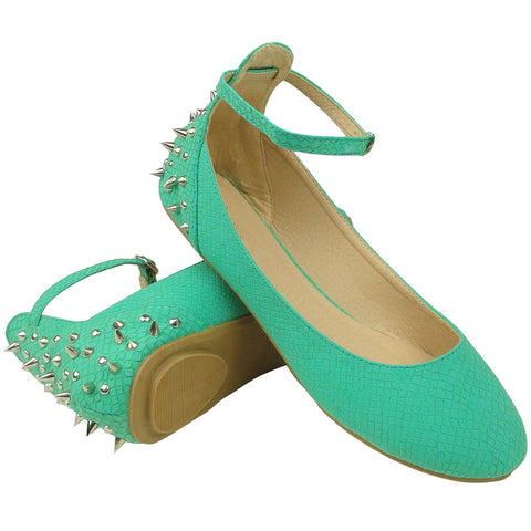 Womens Ballet Flats Round Toe Back Studded Ankle Strap Blue