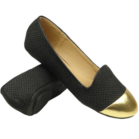 Womens Ballet Flats Snake Printed Gold Toe Cap black