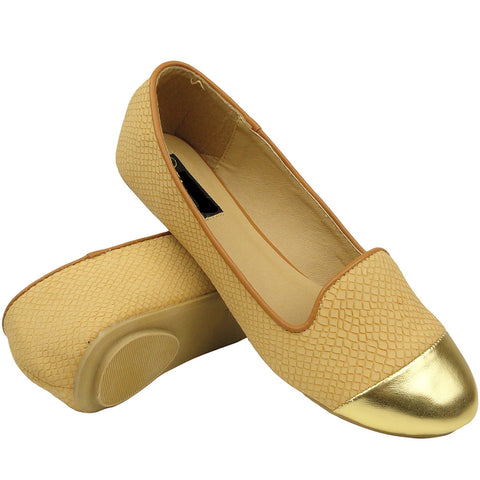 Womens Cap Toe Snake Print Loafers Camel