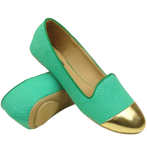 Womens Cap Toe Snake Print Loafers Teal
