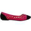 Womens Ballet Flats Side Cutouts Color Contrast Pink