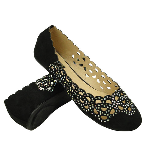 Womens Ballet Flats Cutout Rhinestones Slip On Comfort Shoes black