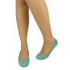 Womens Ballet Flats Cutout Rhinestones Slip On Comfort Shoes Green