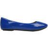 Womens Ballet Flats Patent Leather Round Toe Slip On Blue