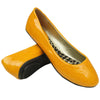 Womens Ballet Flats Patent Leather Round Toe Slip On Yellow